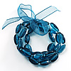 3 Strand Beaded Stretch Bracelet (Blue)