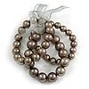 3 Strand Gray-Coloured Beaded Flex Bracelet