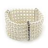 5-Strand Imitation Pearl Crystal Flex Bracelet (Snow White)