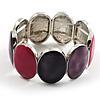 Enamel Oval Stretch Fashion Bracelet (Violet, Purple&Pink)