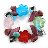 Multi-Coloured Beaded Glass Floral Flex Bracelet