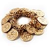 Gold Tone Coin Link Flex Bracelet