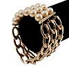 Stunning Faux Pearl Gold Chain Flex Bracelet