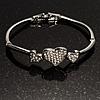 Delicate Crystal Heart Bracelet (Silver Tone)