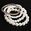 Crystal&Imitation Pearl Bangles-Set of 4 (Silver&Snow White)