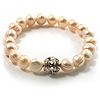 Snow White Freshwater Pearl Crystal Flex Bracelet (9mm)