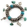 Silver Tone Link Charm Flex Bracelet (Turquoise Stone)