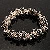 Vintage Floral Flex Bracelet (Antique Silver Tone)