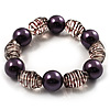Boho Purple&Transparent Bead Flex Glass Bracelet