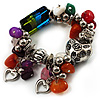 Multicolour Bead&Stone Heart Charm Flex Bracelet (Antique Silver Tone)