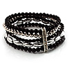 5-Strand Beaded Acrylic Flex Bracelet (Black&Silver)