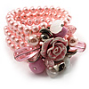 Chic Pale Pink Multistrand Simulated Glass Pearl Floral Flex Bracelet