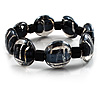 Black Glass With Silver Foil Flex Bracelet