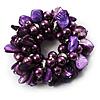 Chunky Purple Shell And Bead Flex Bracelet