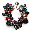 Multicoloured Simulated Pearl Bead & Shell Charm Bracelet (Silver Tone)