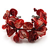 Coral Red Floral Shell & Simulated Pearl Cuff Bracelet (Silver Tone)