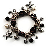 Black Vintage Charm Flex Bracelet (Burnished Silver Tone)