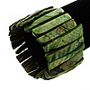 Wide Green Shell Stretch Bracelet (Stripes)