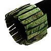 Wide Green Shell Stretch Bracelet (Stripes)
