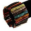Wide Multicoloured Shell Stretch Bracelet (Stripes)