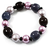 Glass, Ceramic & Plastic Bead Flex Bracelet (Pale Lilac, Pink, Brown & Black)
