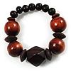 Dark Brown Chunky Wood Bead Flex Bracelet - 18cm Length