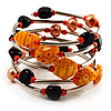 Silver-Tone Glass Bead Coil Bracelet (Black & Orange)