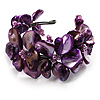 Bright Purple Floral Shell & Simulated Pearl Cuff Bracelet (Silver Tone)