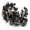 Black Floral Shell & Simulated Pearl Cuff Bracelet