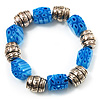 Blue Resin & Silver Tone Metal Bead Flex Bracelet - 18cm Length