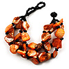 Multistrand Shell-Composite Beaded Bracelet (Black & Orange)
