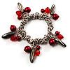 Silver Tone Link Bead Charm Flex Bracelet (Red)