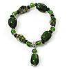 Emerald Green Glass and Ceramic Bead Charm Flex Bracelet - 19cm Long