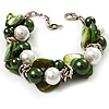 Faux Pearl & Shell - Composite Silver Tone Link Bracelet ( Green, Olive & White)
