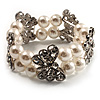 2 Strand Crystal Butterfly Imitation Pearl Flex Bracelet - up to 17cm (for smaller wrists)