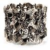 Wide Vintage Crystal Floral Flex Bracelet (Burn Silver Tone)