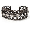 Gun Metal Crystal Chain Bracelet - 18cm Length