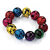 Multicoloured Spotted Ceramic Bead Stretch Bracelet - up to 18cm Length