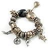 Vintage Charm Flex Bracelet (Burnished Silver Tone)