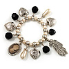 'Cameo, Feather, Heart & Simulated Pearl Beads' Charm Flex Bracelet (Silver Tone)