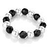 Black & White Imitation Pearl Flex Bracelet - 16cm Length (for small wrist)