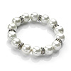 Snow White Simulated Pearl Crystal Flex Bracelet - 17cm Length