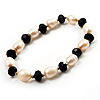 Light Cream Freshwater Pearl & Black Glass Bead Flex Bracelet -19cm Length