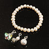 White Freshwater Pearl With Adjustable Charm Flex Bracelet