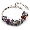 Purple Glass & Acrylic Bead Bracelet (Silver Tone Metal) -17cm Length