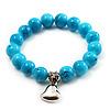 Turquoise Bead Charm Heart Flex Bracelet -21cm Length