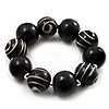 Chunky Black Wood Flex Bracelet - 21cm Length