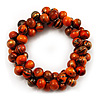Orange-Gold Wood Cluster Bead Flex Bracelet -20cm Length