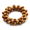 Cream-Brown Wood Cluster Bead Flex Bracelet -20cm Length