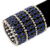 Wide Royal Blue Crystal Flex Bracelet (Silver Tone Finish) - 7cm Width